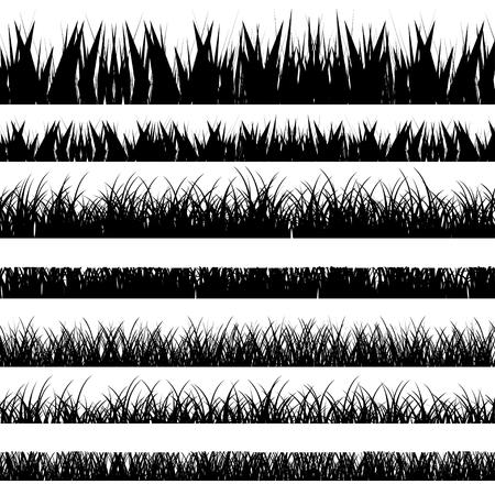 dessin noir et blanc: Vector illustration. Set avec realistica herbe. La nature. Illustration