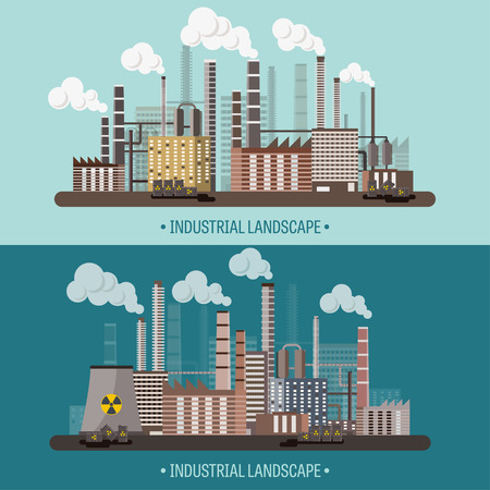 Vector illustration. Urbanization. Industrial revolution. Pipe. Air pollution. Oil and gas, fuel.