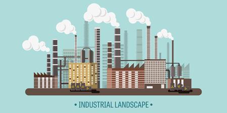 urbanization: Vector illustration. Urbanization. Industrial revolution. Pipe. Air pollution. Oil and gas, fuel.