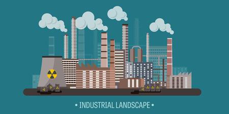 paesaggio industriale: Illustrazione vettoriale. Urbanizzazione. Rivoluzione industriale. Tubo. Inquinamento atmosferico. Petrolio e gas, carburante.