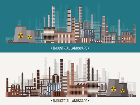 Ilustración del vector. Urbanización. Revolución industrial. Tubo. La contaminación del aire. El petróleo y el gas, combustible.