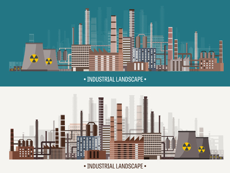ironworks: Vector illustration. Urbanization. Industrial revolution. Pipe. Air pollution. Oil and gas, fuel.