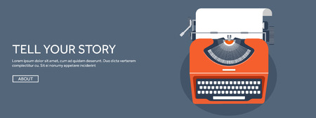 tell stories: Vector illustration.  Flat typewrite. Tell your story. Author. Blogging.