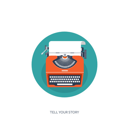 storytelling: Vector illustration.  Flat typewrite. Tell your story. Author. Blogging.