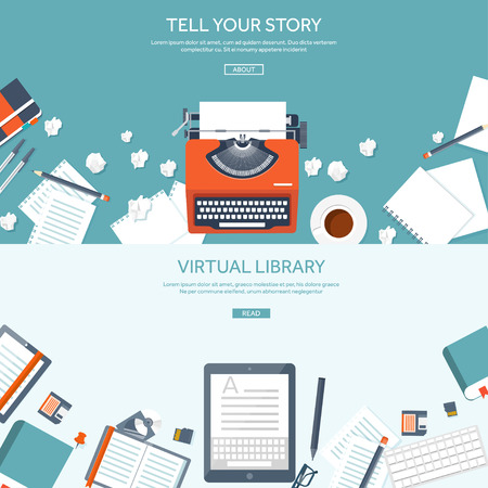 book: Vector illustration.  Flat typewrite. Tell your story. Author. Blogging.