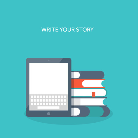 e magazine: Vector illustration. Tablet with keyboard and books. Study , typing. Illustration