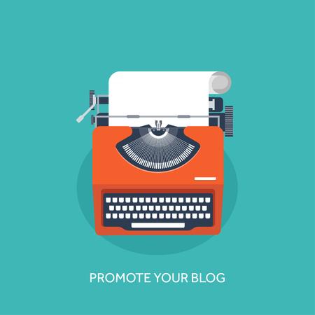 Vector illustratie. Platte schrijfmachine. Vertel uw verhaal. Auteur. Bloggen.