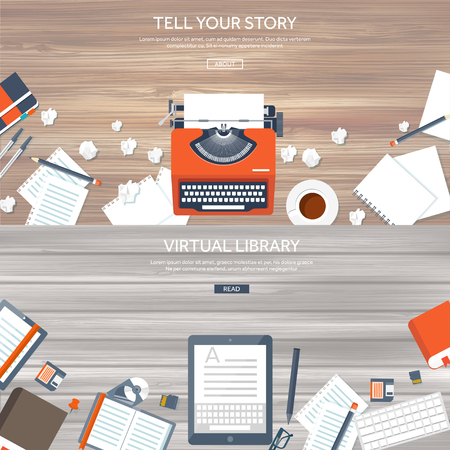 type writer: Vector illustration.  Flat typewrite. Tell your story. Author. Blogging.