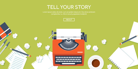 story: Vector illustration.  Flat typewrite. Tell your story. Author. Blogging.
