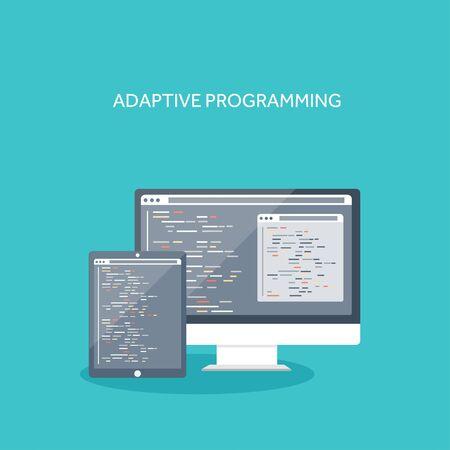 application sign: Vector illustration. Flat computing background. Programming ,coding. Web development ,search. Search engine optimization. Innovation ,technologies. Mobile app. Illustration