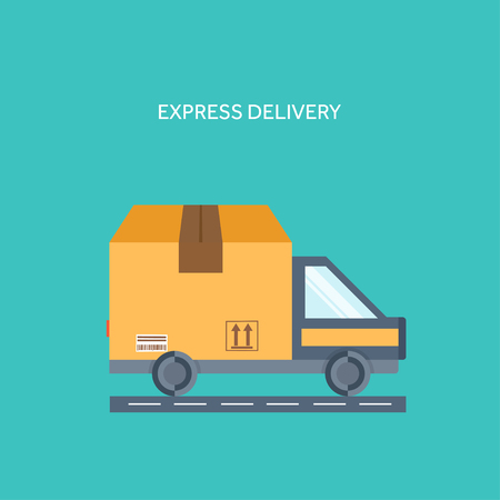 Flat background. Delivery ,packaging. Shipping,transportation. Carton box ,car. Illustration