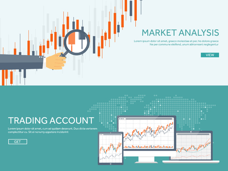 Vector illustration. Flat background. Market trade. Trading platform ,account. Moneymaking,business. Analysis. Investing. Vettoriali