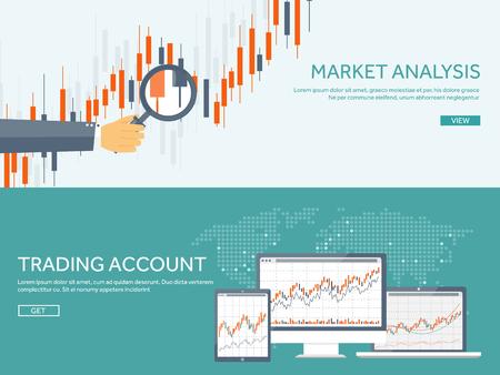 Vektor-Illustration. Flach Hintergrund. Markthandel. Handelsplattform, Konto. Geldverdienen, Geschäft. Analyse. Investieren.