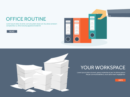 Vector illustration. Flat background Paperwork ,office routine, documents. Workspace. Hand with folders.