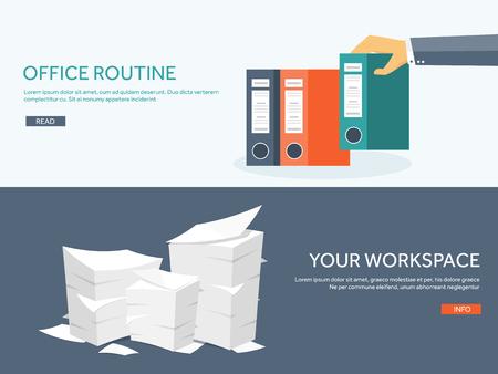 apilar: Ilustración del vector. Plano Trámites fondo, rutina de oficina, documentos. Espacio de trabajo. Mano con carpetas. Vectores