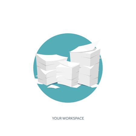 oficina desordenada: Ilustración del vector. Plano Trámites fondo, rutina de oficina, documentos. Espacio de trabajo.
