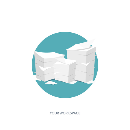 business desk: Vector illustration. Flat background Paperwork ,office routine, documents. Workspace. Illustration