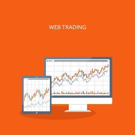 comercio: Ilustración del vector. Fondo plano. El comercio de mercado. Plataforma de Trading, cuenta. Hacer dinero, negocio. Análisis. Invertir.