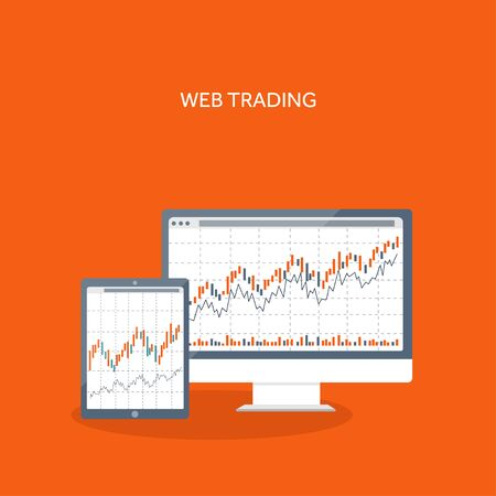 trading: Vector illustration. Flat background. Market trade. Trading platform ,account. Moneymaking,business. Analysis. Investing. Illustration
