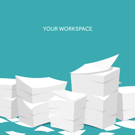 Vector illustration. Flat background Paperwork ,office routine, documents. Workspace. Vettoriali