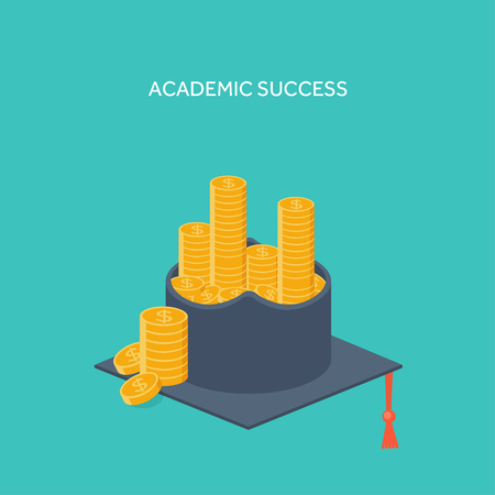 master degree: Vector illustration. Flat background with academic cap ,golden coins. Success ,study. Achievement. Illustration