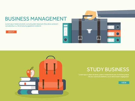 school set: Vector illustration. Flat portfolio with hand and office folder. Paperwork, business ,routine.