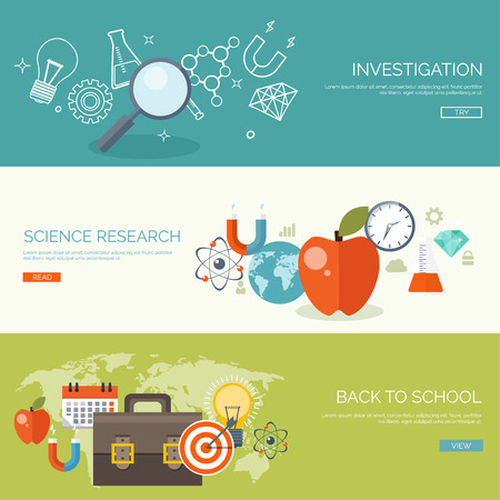 Vector illustration. Flat backgrounds set. Distance education ,learning. Online courses and web school. Knowledge ,information. Study process. E-learning.