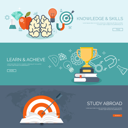 web courses: Vector illustration. Flat backgrounds set. Distance education ,learning. Online courses and web school. Knowledge ,information. Study process. E-learning.