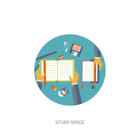 cognition: Vector illustration. Flat backgrounds set. Distance education ,learning. Online courses and web school. Knowledge ,information. Study process. E-learning.