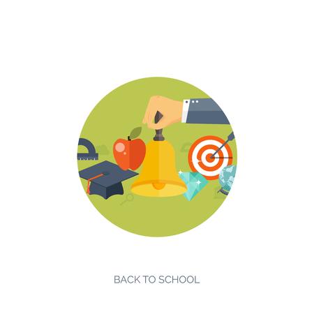 conocimiento: Ilustración del vector. Fondos planos establecidos. La educación a distancia, el aprendizaje. Los cursos en línea y la escuela web. El conocimiento, la información. Proceso de estudio. E-learning.