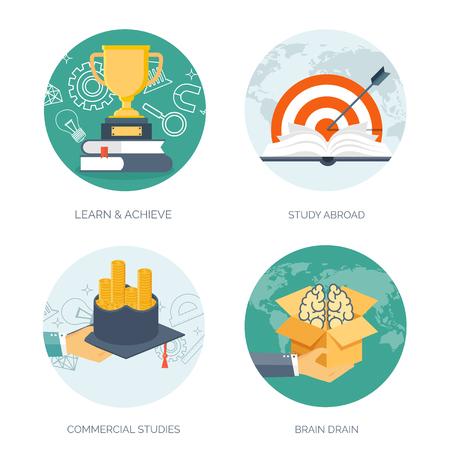 estudiando: Ilustraci�n del vector. Fondos planos establecidos. La educaci�n a distancia, el aprendizaje. Los cursos en l�nea y la escuela web. El conocimiento, la informaci�n. Proceso de estudio. E-learning.