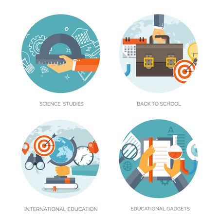 conocimientos: Ilustraci�n del vector. Fondos planos establecidos. La educaci�n a distancia, el aprendizaje. Los cursos en l�nea y la escuela web. El conocimiento, la informaci�n. Proceso de estudio. E-learning.
