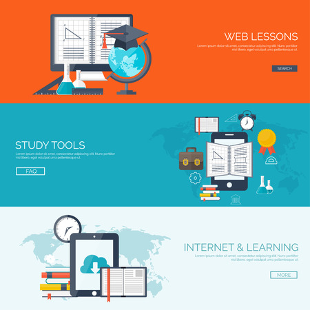aprendizaje: Ilustración del vector. Fondos planos establecidos. La educación a distancia, el aprendizaje. Los cursos en línea y la escuela web. El conocimiento, la información. Proceso de estudio. E-learning.