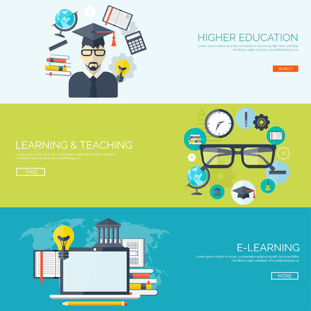 knowledge: Vector illustration. Flat backgrounds set. Distance education ,learning. Online courses and web school. Knowledge ,information. Study process. E-learning.