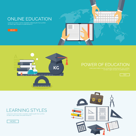 cognitive: Vector illustration. Flat backgrounds set. Distance education ,learning. Online courses and web school. Knowledge ,information. Study process. E-learning.