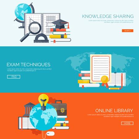 ベクトルの図。フラットの背景を設定します。遠隔教育、学習します。オンライン コースと web スクール。知識、情報。プロセスを研究します。E-ラ