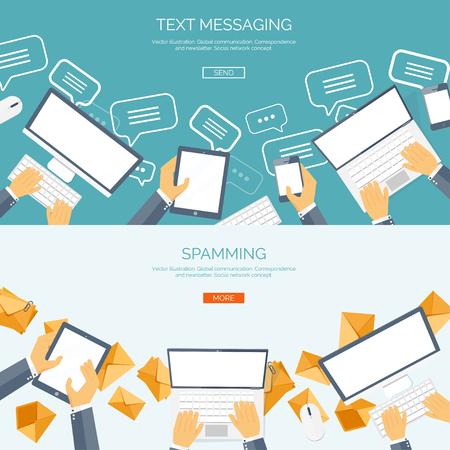 коммуникация: Векторная иллюстрация. Глобальные коммуникации. Социальная сеть, в чате. Отправка смс и. Веб-звонки. Интернет.