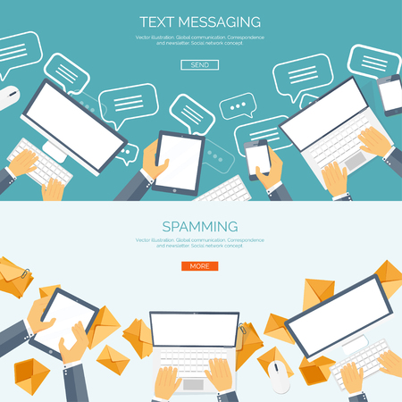 communication concept: Vector illustration.  Global communication. Social network ,chatting. Emailing and sms. Web calls. Internet.