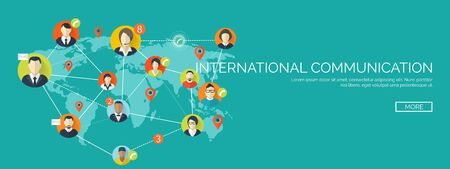 network marketing: Vector illustration.  Global communication. Social network ,chatting. Emailing and sms. Web calls. Internet.