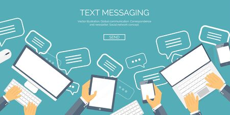 blog icon: Vector illustration.  Global communication. Social network ,chatting. Emailing and sms. Web calls. Internet.