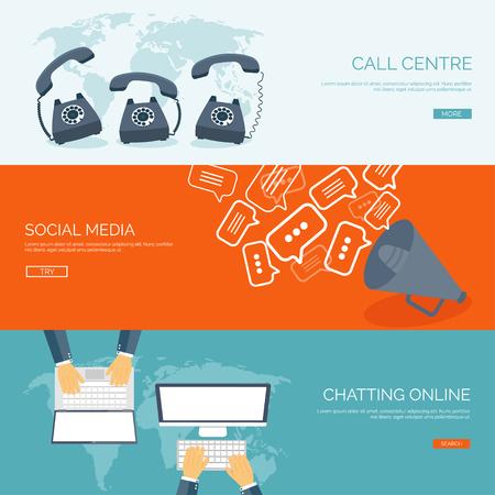 Vektor-Illustration. Globale Kommunikation. Soziales Netzwerk, Chatten. E-Mail und SMS. Web telefonieren. Internet. Standard-Bild - 47612890