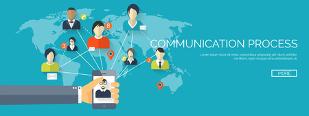 Vector illustration.  Global communication. Social network ,chatting. Emailing and sms. Web calls. Internet.