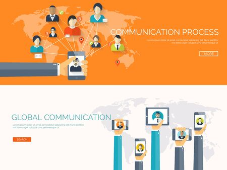 global network: Vector illustration.  Global communication. Social network ,chatting. Emailing and sms. Web calls. Internet.