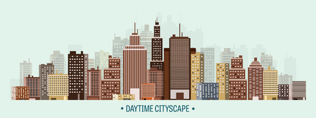 cityscape: Vector illustration. Set of city silhouettes. Cityscape. Town skyline. Panorama. Midtown houses. Skyscrapers.