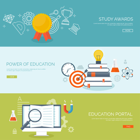 college: Vector illustration. Flat backgrounds set. Distance education ,learning. Online courses and web school. Knowledge ,information. Study process. E-learning.