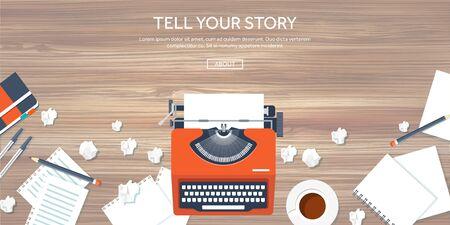 maquina de escribir: Ilustración del vector. Typewrite plana. Cuente su historia. Autor. Blogging. Foto de archivo