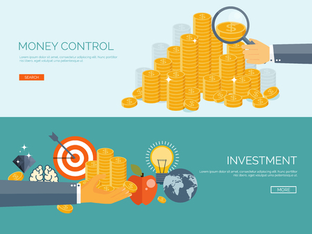 golden coins: Flat vector illustration background. Money and money making. Web payments. World currency. Internet store, shopping. Pay per click. Business.