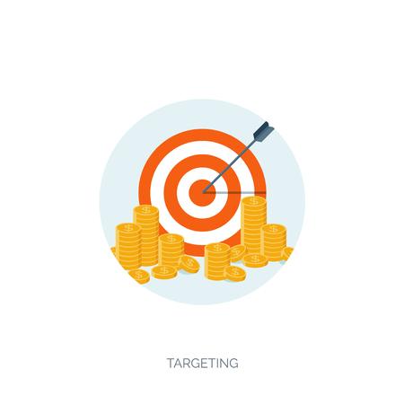 플랫 벡터 일러스트 배경. 돈과 돈 만들기입니다. 웹 지불. 세계 통화. 인터넷 상점, 쇼핑. 클릭당 지불. 사업.