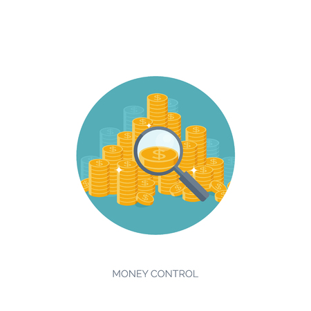 money making: Flat vector illustration background. Money and money making. Web payments. World currency. Internet store, shopping. Pay per click. Business.