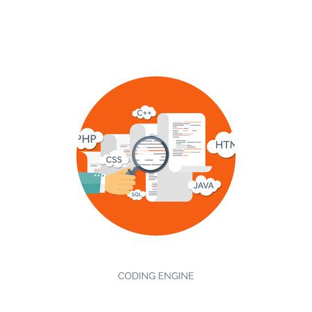 software design: Vector illustration. Flat background. Coding, programming. SEO. Search engine optimization. App development and creation. Software, program code. Web design.